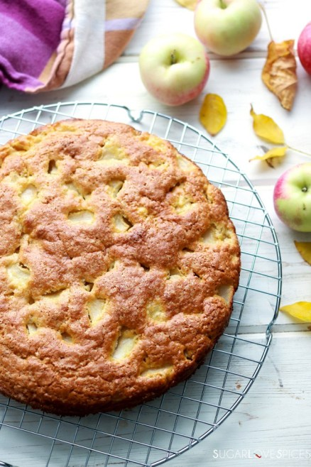 Torta di Mele (Apple Cake with Olive Oil)-cake on a rack