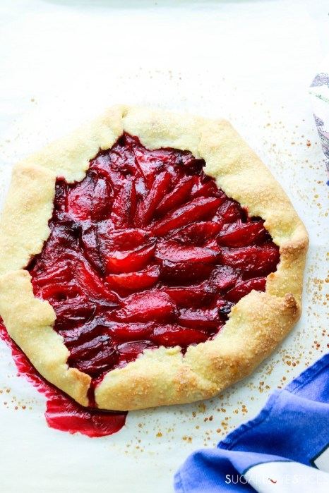 Vegan Plum Rosemary Galette with Olive Oil Crust-whole galette cooked