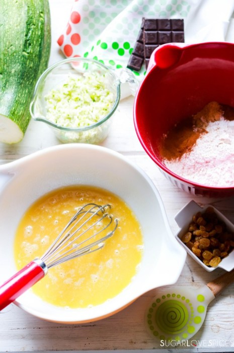 Zucchini Chocolate Raisin Spelt Muffins-wet and dry in bowls