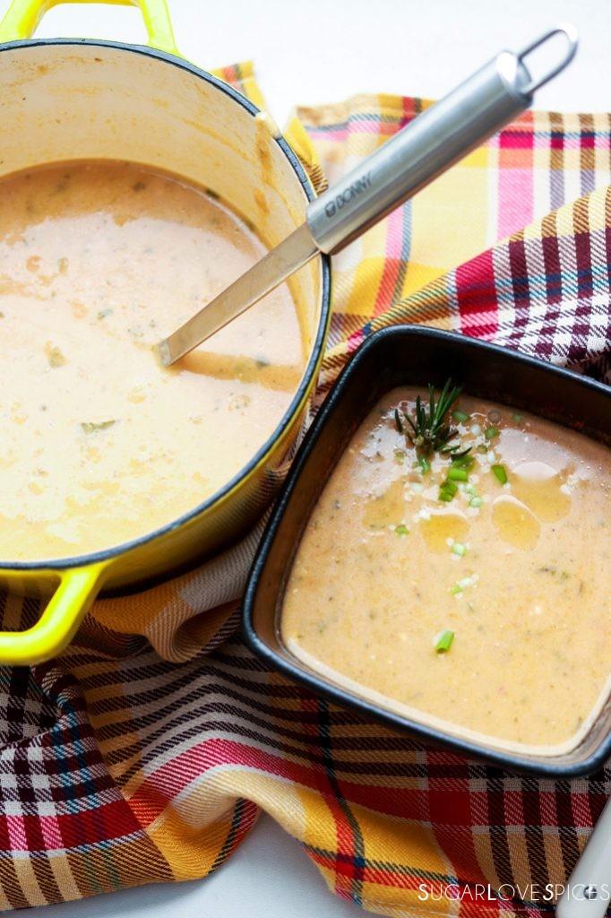 Cream of Kohlrabi and Potato Soup-pot and one bowl