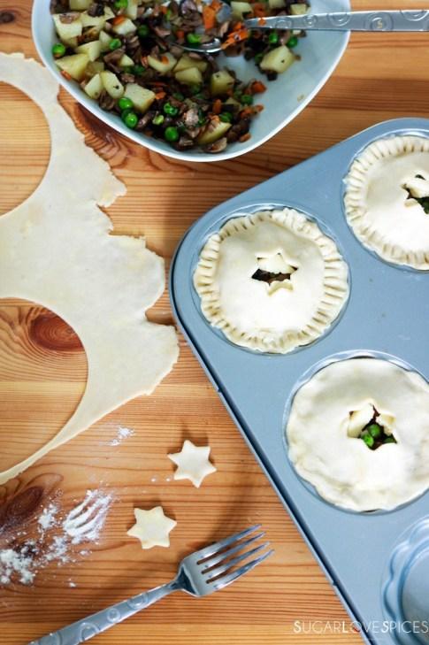Mini Mushroom Pies with Pea and Potato-preparing the pies