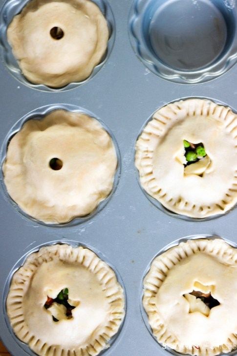 Mini Mushroom Pies with Pea and Potato-ready for the oven
