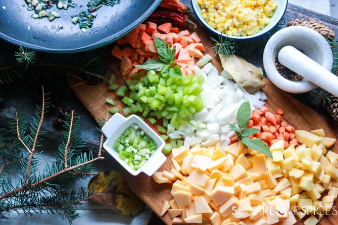 Sweet Potato and Corn Harvest Chowder-chopped harvest vegetables