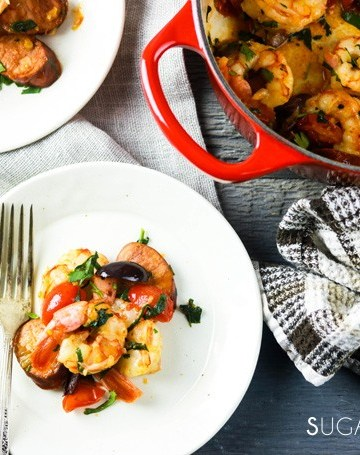 Homestyle Portuguese Shrimp and Chorizo-2 plates, foks and the pan
