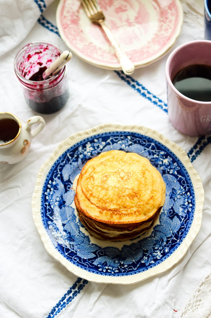 Lemon ricotta pancakes-stack on a plate