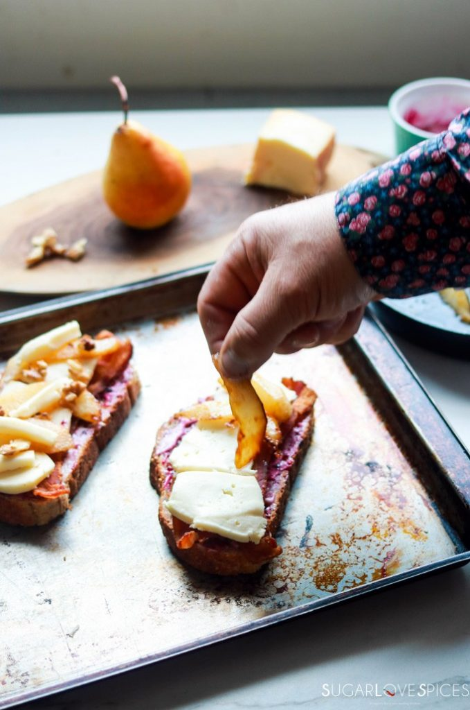 Pear Bacon and Taleggio Tartine-adding the pear slices