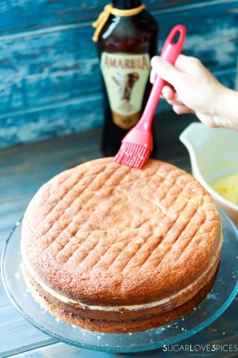 Zuppa Inglese with Amarula liquor, chocolate and custard-brushing Amarula liquor on cake