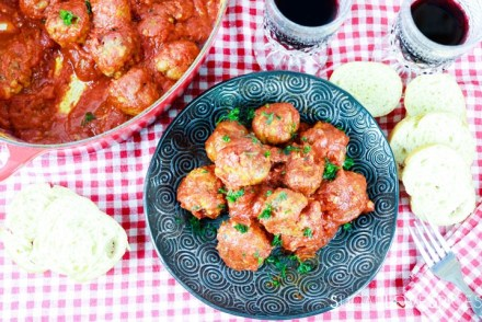 Albondigas, Spanish-style Meatballs-piled in the black plate
