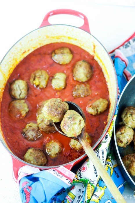 Albondigas, Spanish-style Meatballs-placing them in the pot