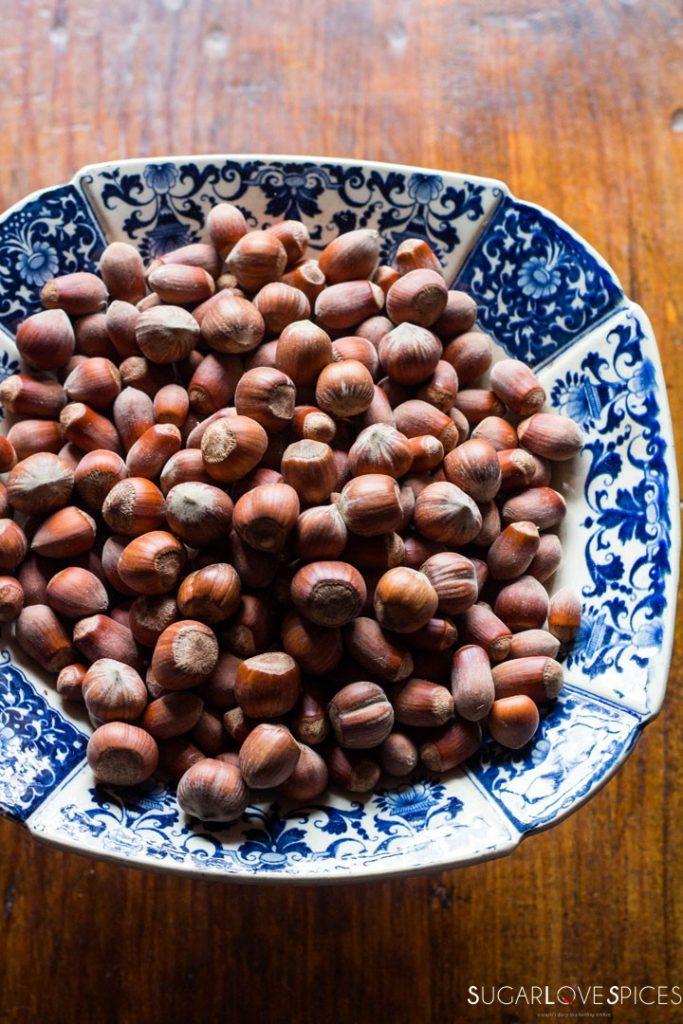 Hazelnut Sbrisolona Cake with Chocolate Spread-fresh hazelnuts
