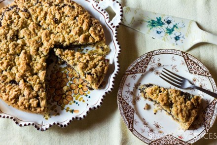 Hazelnut Sbrisolona Cake with Chocolate Spread-in the plate, a slice cut