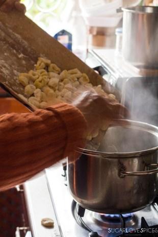 Homemade Potato Gnocchi-gnocchi in boiling water