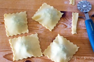 Ricotta and Spinach Ravioli in Tomato Sauce-ravioli shapes