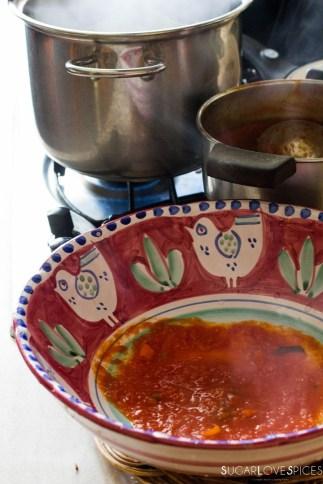 Ricotta and Spinach Ravioli in Tomato sauce-sauce