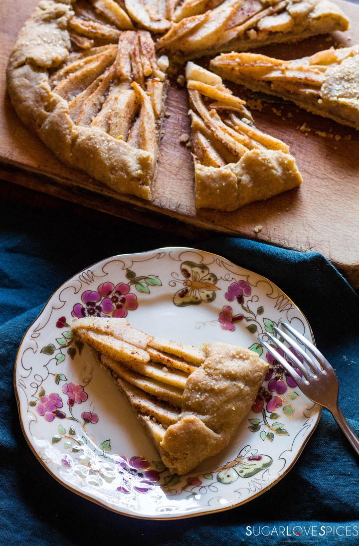 Rustic Pear & Hazelnut Vegan Galette-slice
