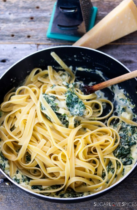 fettuccine alla greca-plate in the pan