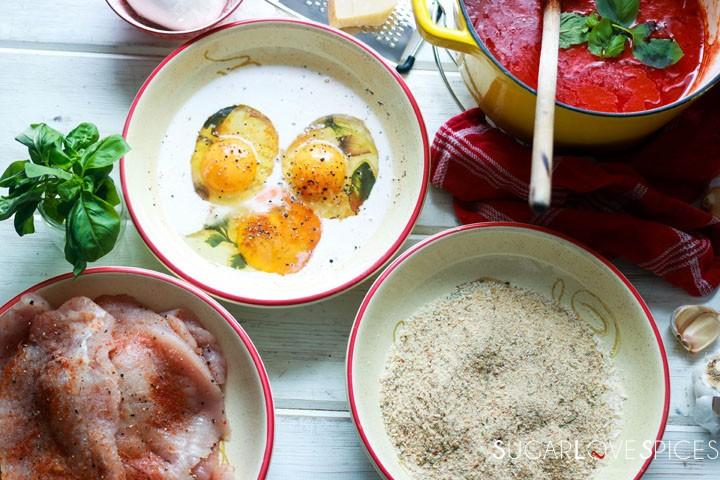 Chicken Parmigiana-eggs and breadcrumbs