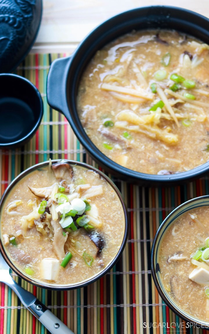 Hot and Sour Asian Soup-bowl and pot
