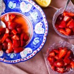 Strawberries with sugar and lemon-feature