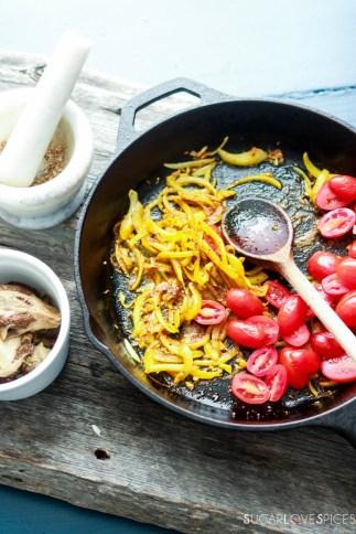 Baingan Bharta, Indian spiced Eggplant-in the cast iron pan