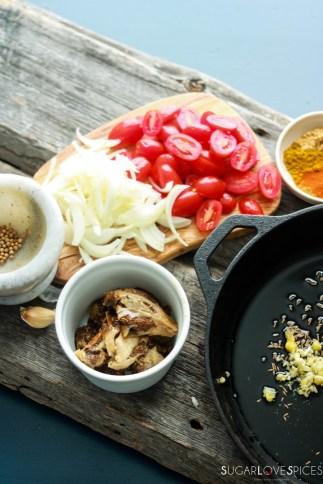 Baingan Bharta, Indian spiced Eggplant-ingredients ready