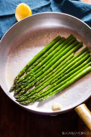 Simple Stove top Lemon Asparagus-in the pan with lemon
