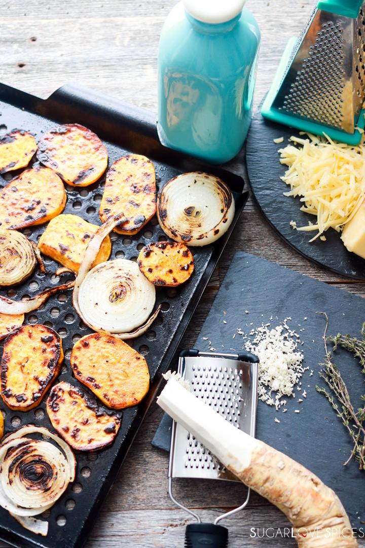 Sweet Potato Onion Gratin-roasting