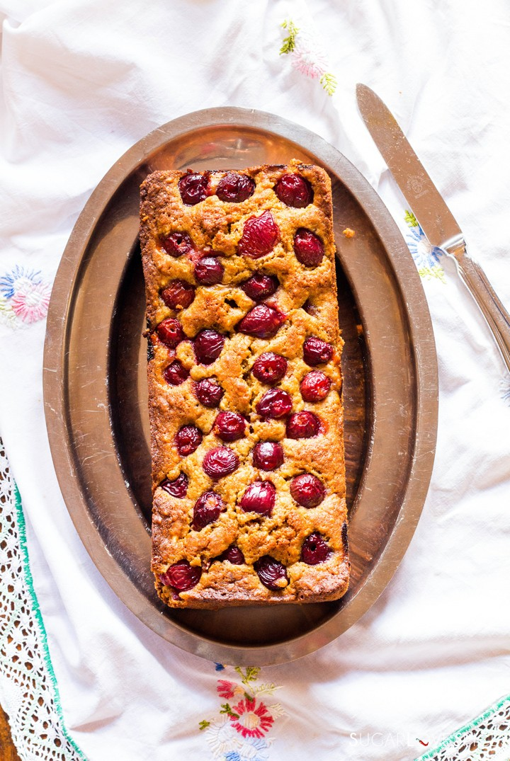 Delicious Cherry Almond Cake-in the plate
