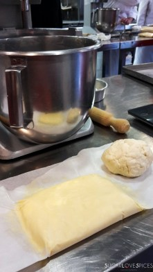 homemade puff pastry-butter and dough