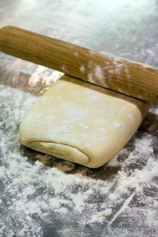 homemade puff pastry-stretching