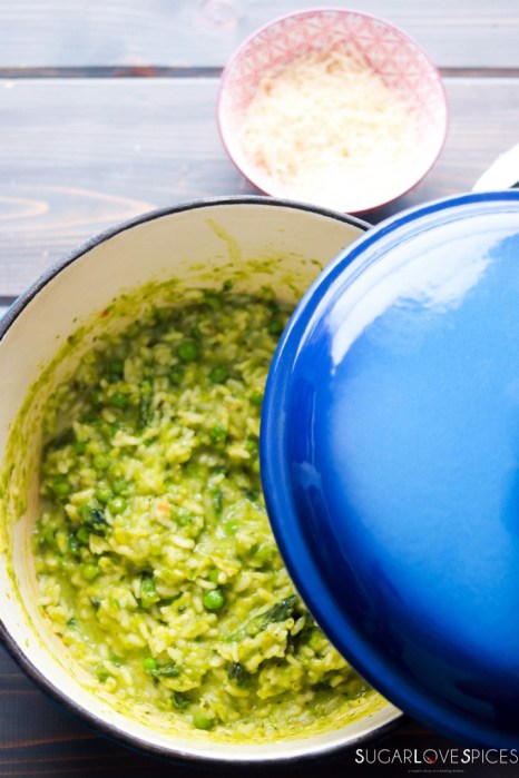 Cream of Asparagus and Pea Risotto-lid on
