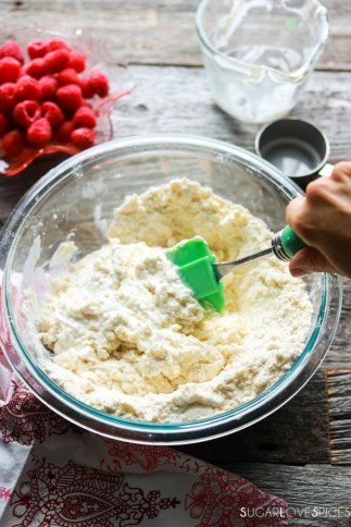 Raspberry Sour Cream Shortcakes-mixing wet ingredients