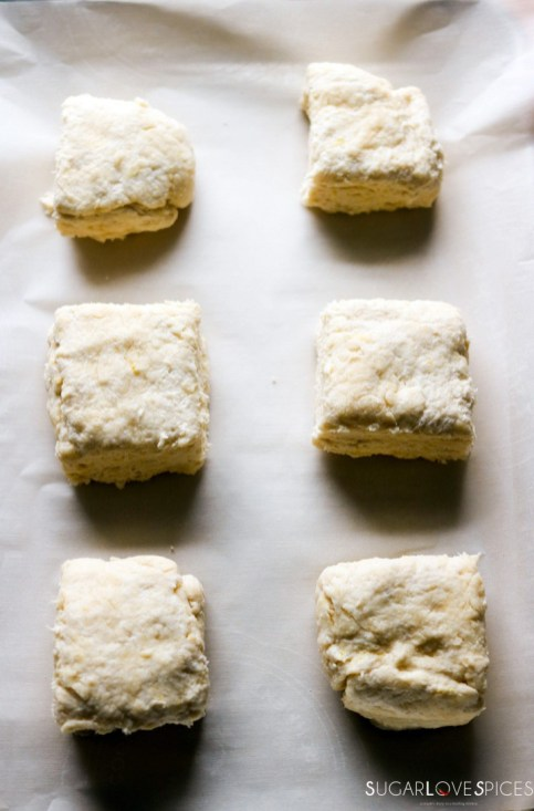 Raspberry Sour Cream Shortcakes-biscuits before the oven