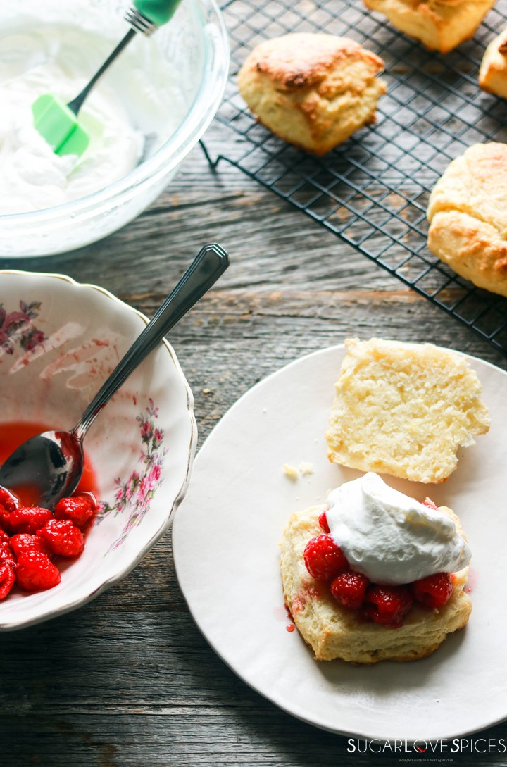 Raspberry Sour Cream Shortcakes-building one