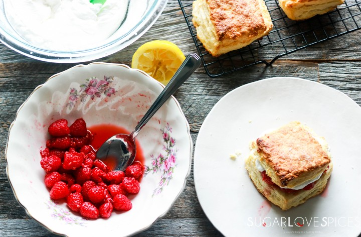 Raspberry Sour Cream Shortcakes-from the top
