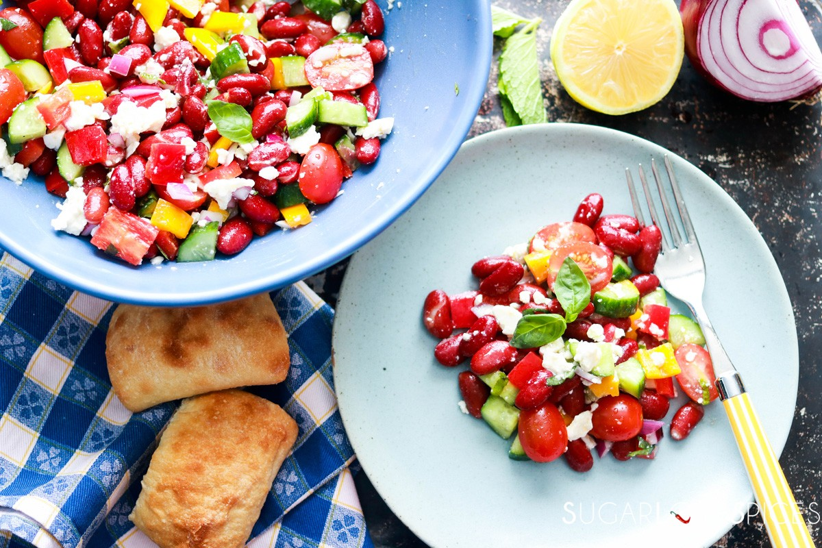 Red Kidney Bean Summer Salad With Feta Sugarlovespices