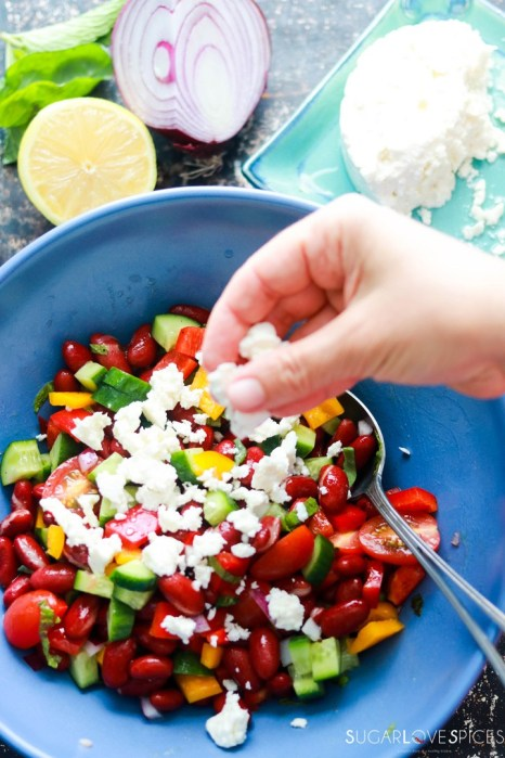 Red Kidney Bean Summer Salad with Feta-sprinkling feta