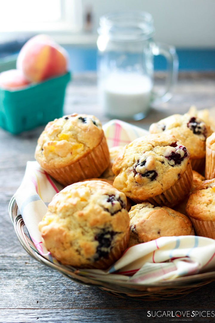 Dairy-free Blackberry Peach Muffins-in the basket-frontal view