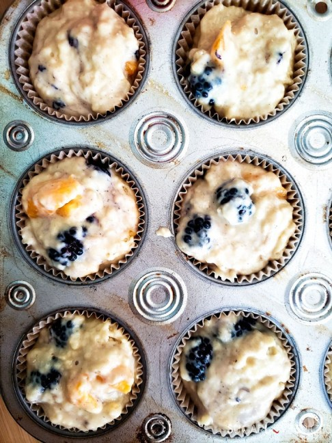Dairy-free Blackberry Peach Muffins-ready for the oven
