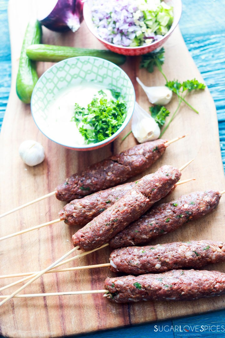 Grilled Beef Kafta with Tzatziki sauce-kafta ready for the grill