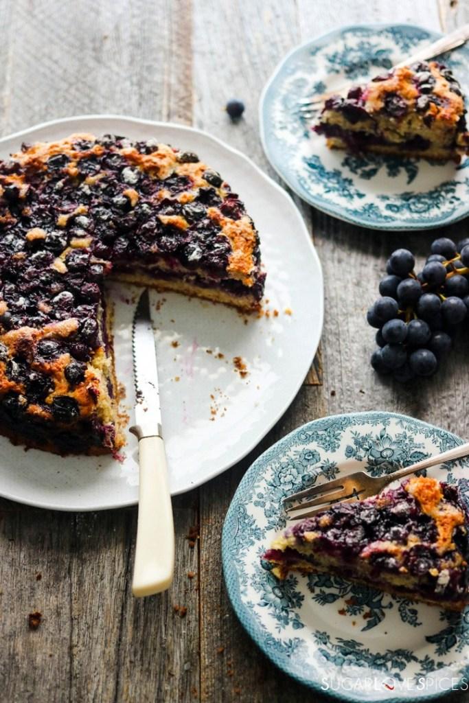 Torta Bertolina, Italian Grape Cake-cake and two plates