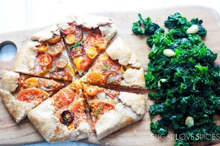 heirloom tomato galette-and-kale-on-board