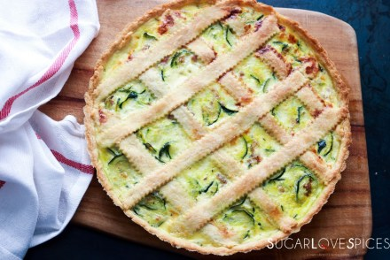Savory Crostata with zucchini and prosciutto-feature-whole on board