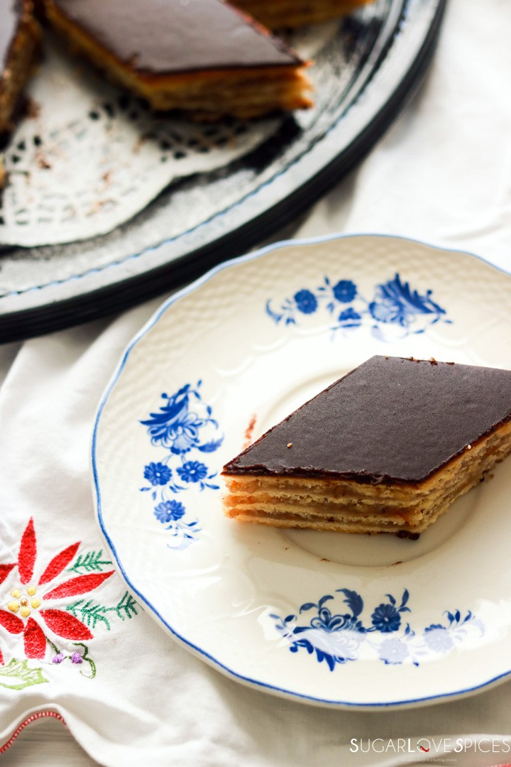 Hungarian Gerbeaud cake-piece of cake on a plate-top view