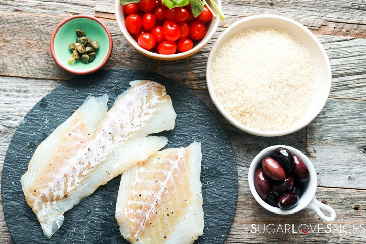 One pan rice and fish-ingredients-fish-rice-tomatoes-olives-capers