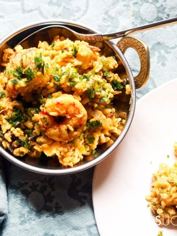 Shrimp Biryani-feature-some plated some in the pot