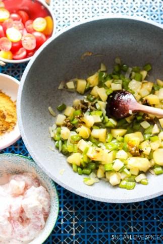 Shrimp Biryani-prep-veggies in the pan