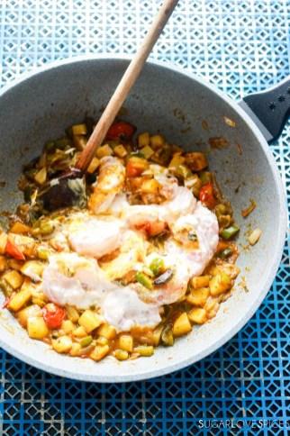 Shrimp Biryani-prep-stirring the pan