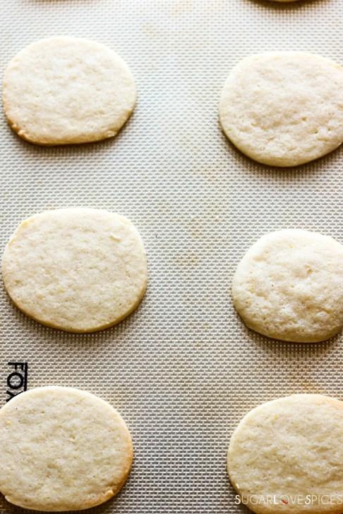 Slice and bake lemon crips-cookies on baking sheet-baked