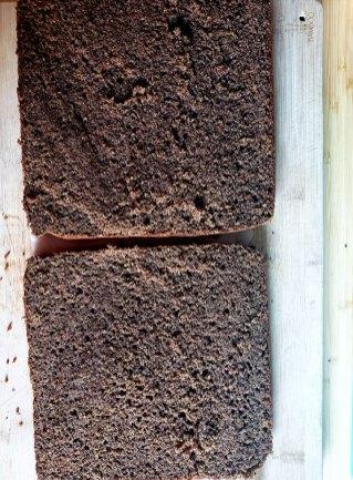 Buckwheat and Jam Cake-cake cut into two